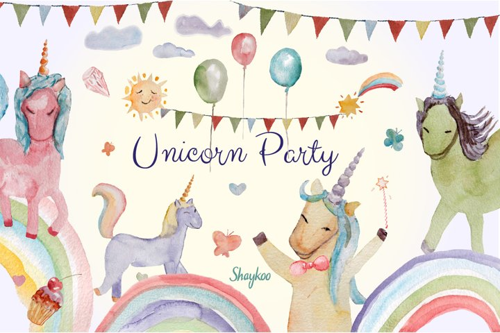Unicorn Party Clipart, Watercolor Baby Unicorn Clipart
