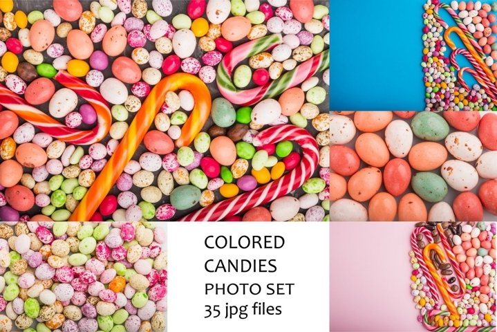 Multicolored dragee candies