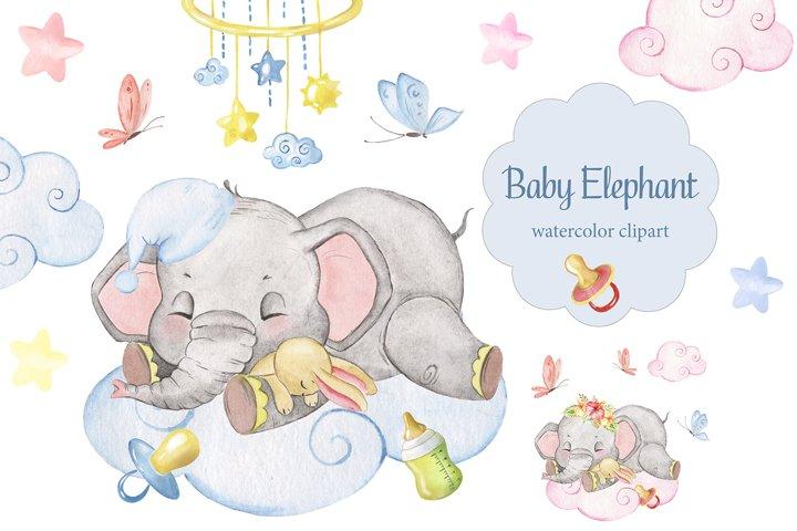 Watercolor Baby Elephant clipart. Elephant sleeping, cloud ...