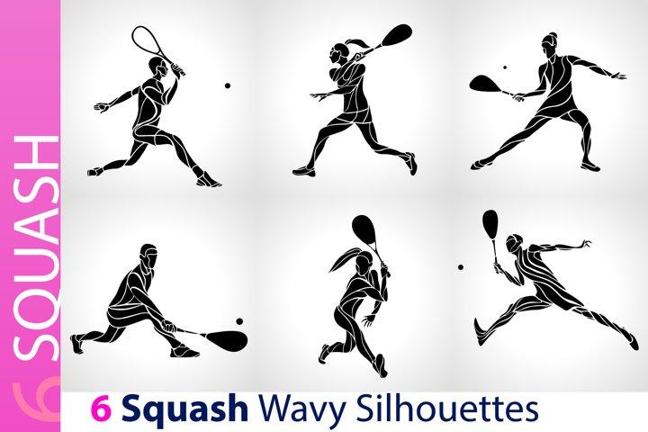 Squash Players / Squash Black Abstract Silhouettes