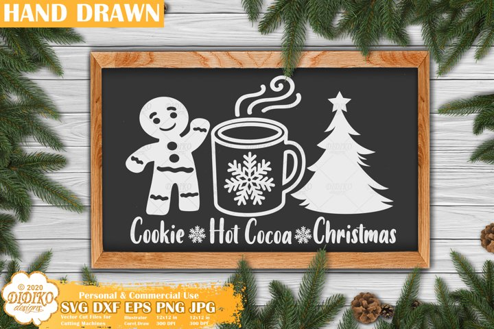 Christmas Sign SVG | Christmas Tree, Cookie, Hot Cocoa SVG