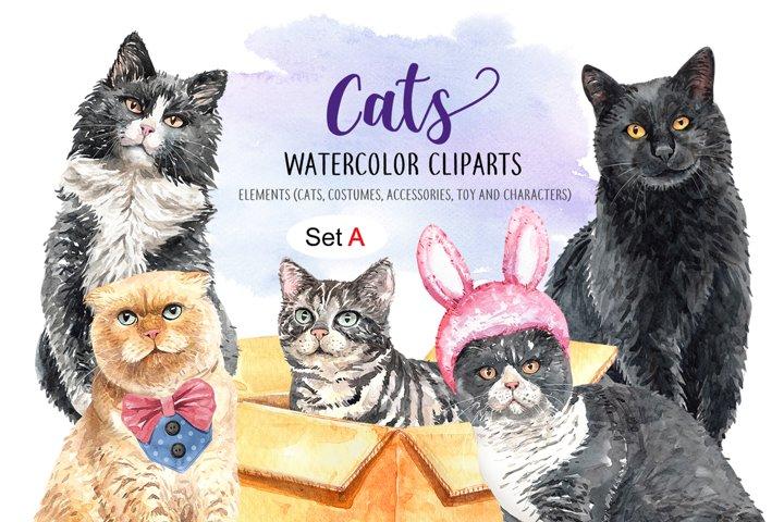 Cat Lover Watercolor Cliparts, Pet watercolor