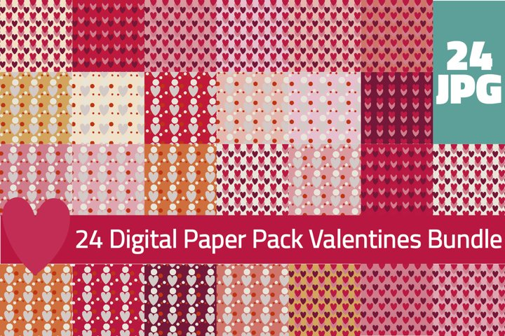 Valentines Digital Papers, Valentines Day Backgrounds