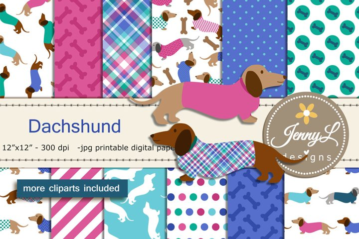Dachshund Dog Digital Papers and Dog Clipart SET, Puppy, Doggie, Animal