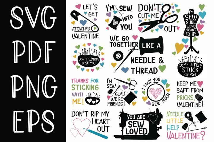 Bundle of 14 Sewing Themed Valentine Designs