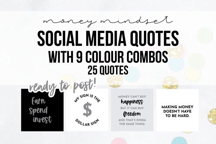 25 x Grey, Black & White Money Mindset Social Media Quotes P