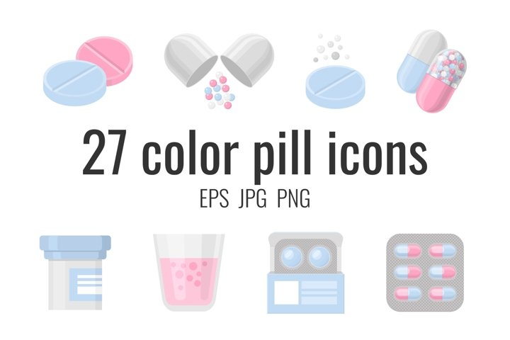 27 color pill and drug icons