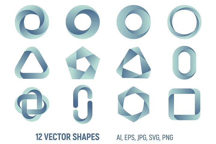 12 gradient logos templates. Vector color symbols.