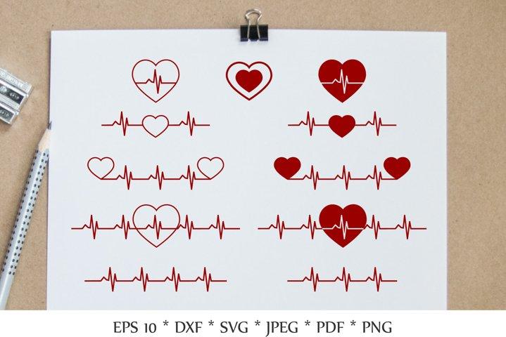 Heartbeat SVG. Line heart beat SVG. Heartbeat bundle