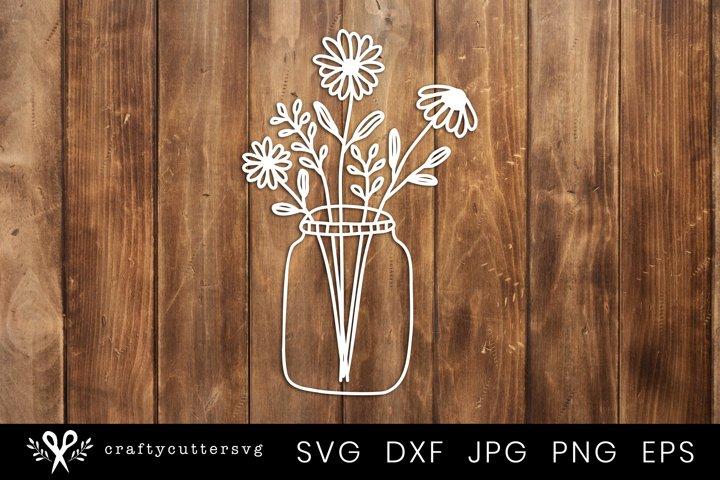 Paper Cut Design | Flower Mason Jar Svg Cut File