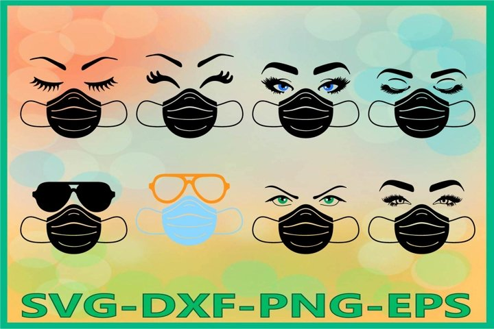 Face Mask svg, Eyelashes SVG, Medical mask svg, Respirator