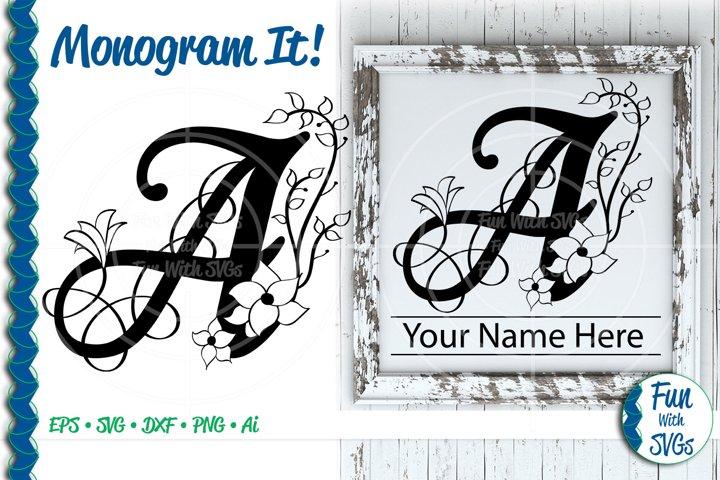 SVG Monogram Letter A, Vector, Cut File, Clip Art, FWS350