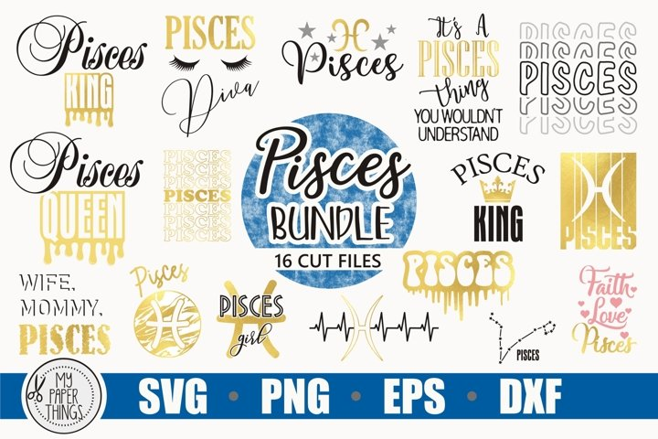 Pisces svg bundle, February, March birthday svg, Zodiac sign