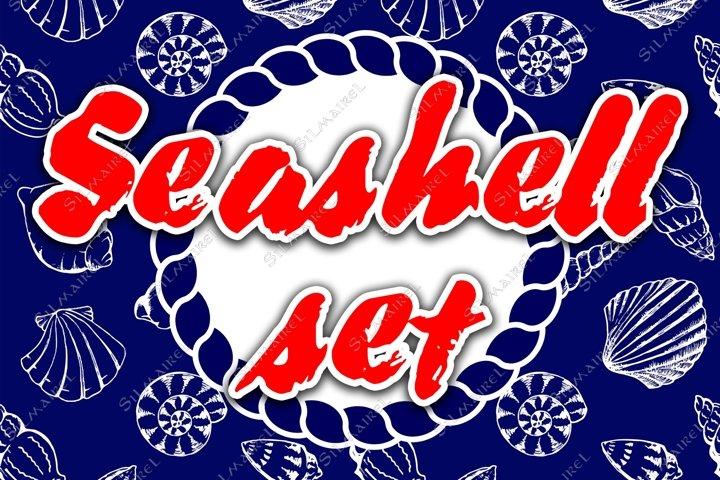 Seashell ink set vector
