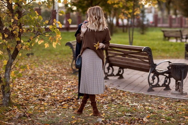 Autumn, details of clothes, a girl in an autumn image
