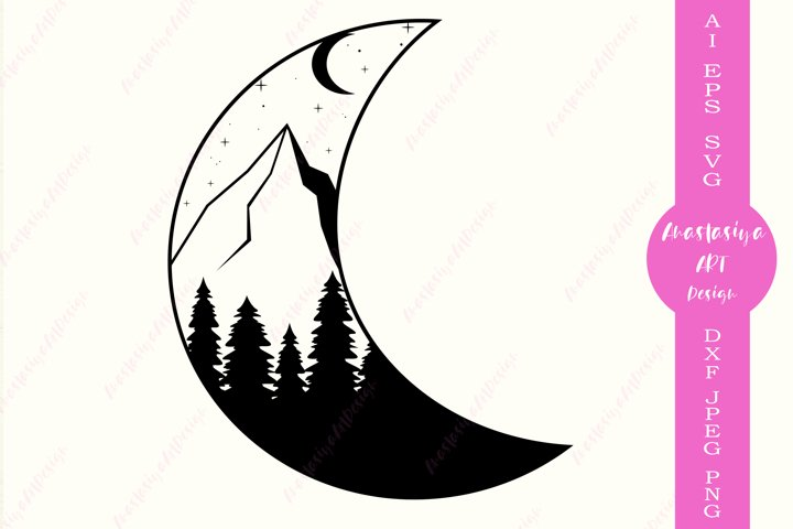 Moon and mountains svg, Crescent moon silhouette
