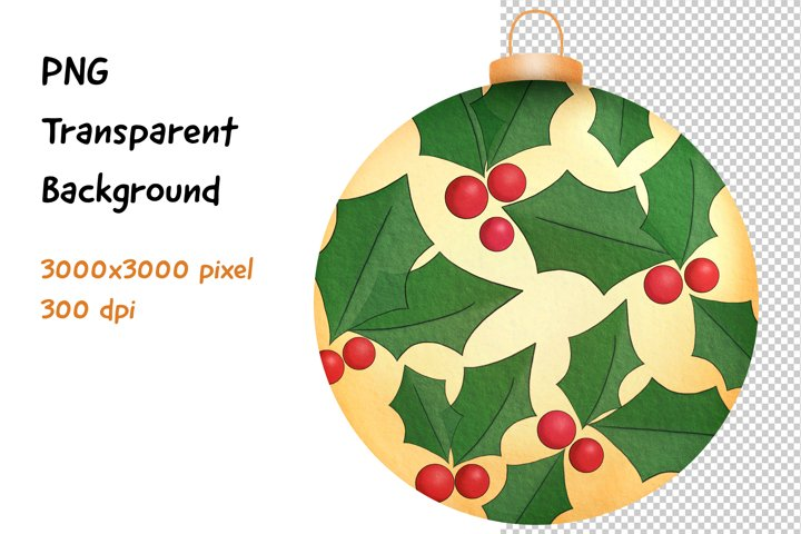 Yellow Christmas Ball PNG Clipart