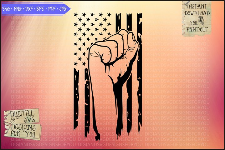 Freedom Fist and USA Flag | Patriotic svg png dxf