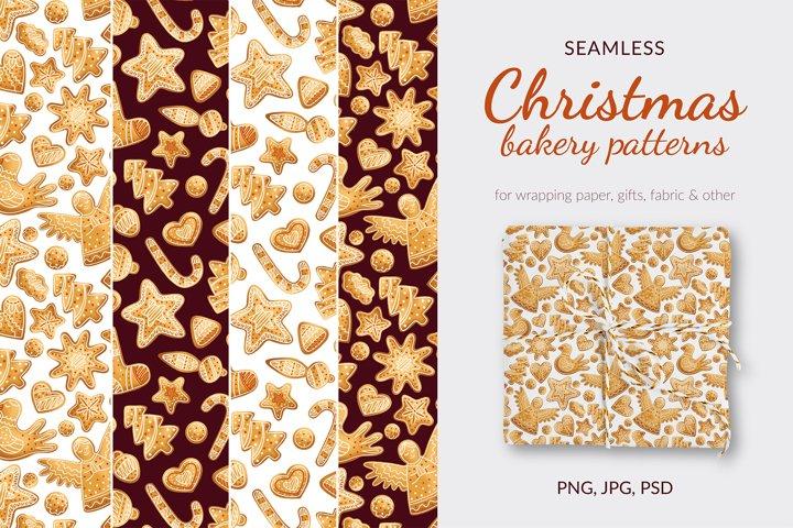 Christmas bakery patterns. Gingerbread seamless patterns.