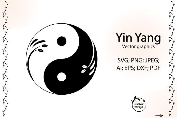 Yin yang svg symbol. Ying yang art logo