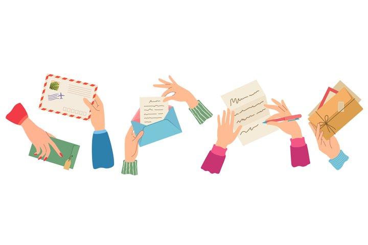 Hands sending letter. Female hand holding envelopes with sta