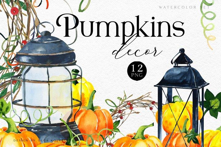 Fall Pumpkin Clipart Watercolor yellow pumpkins and lantern