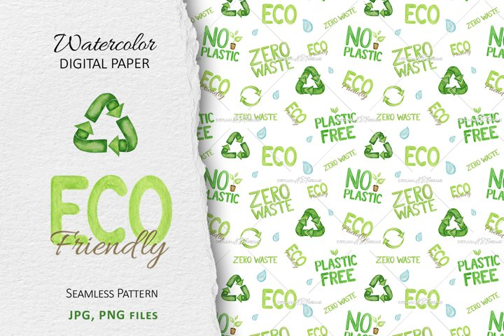Watercolor Reuse Recycled icon seamless pattern Eco friendly