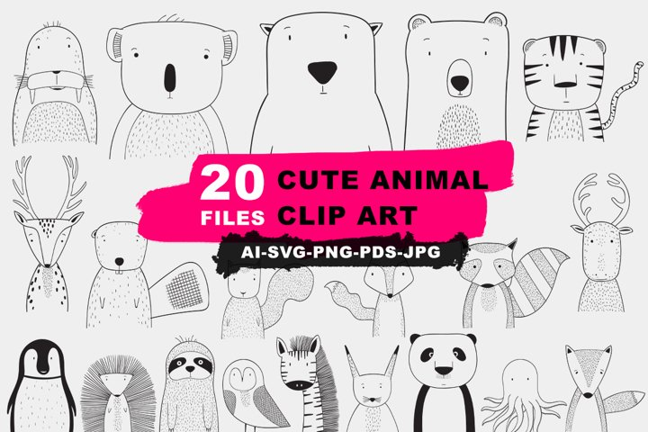 20 File Cute Animal Clip Art Bundle