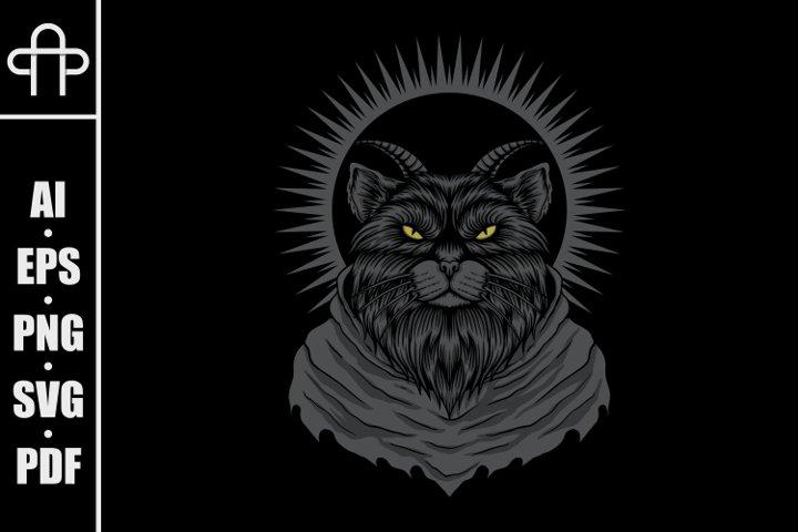 Satanic cat vector illustration