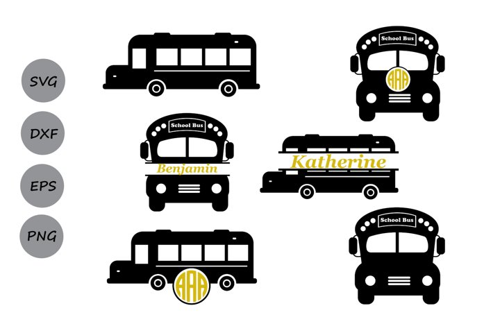 School bus SVG, School bus monogram Svg, Back to school svg.