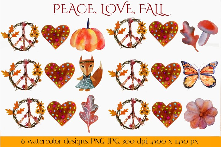 Peace, Love, Fall. Fall sublimation. PNG, JPG