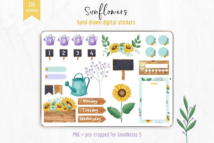 Digital Stickers Sunflowers, Digital Junk Journal. GoodNotes