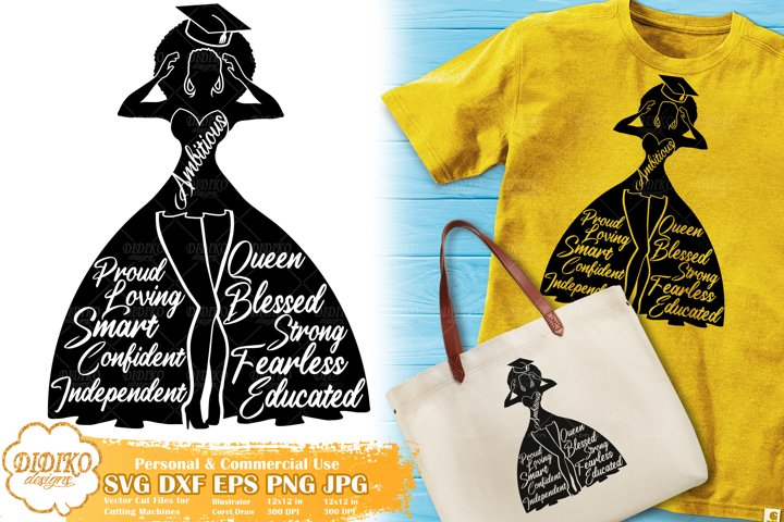 Black Woman Graduation SVG | Black Woman with Words | Afro