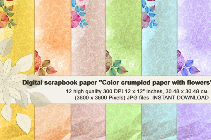 Rainbow Floral Crumpled Digital Paper