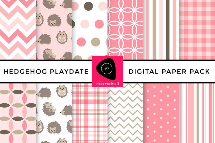 Hedgehog Play Date Digital Paper Pack