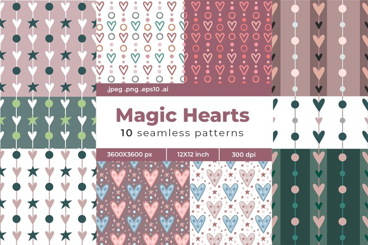 Modern Heart Digital Papers. Valentines day set