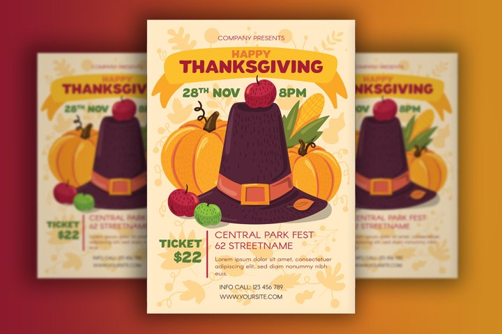 Thanksgiving Poster With Pilgrim Hat