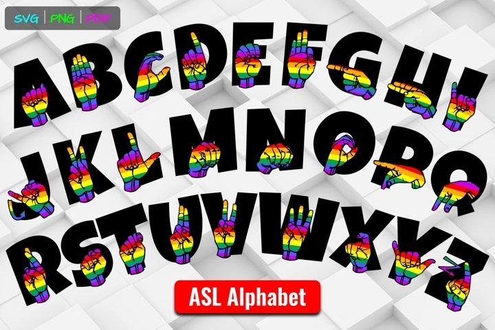 ASL ABCs Rainbow OnText American Sign Language SVG Cut Files
