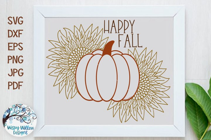 Happy Fall Sunflower Pumpkin SVG | Fall Sign pumpkinSVG