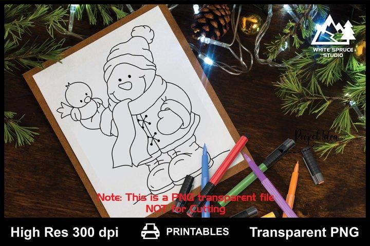 Snowman & Bird Winter Friends Printable Line Art PNG