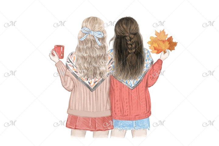 Fall Best Friends. Hand drawn illustration - PNG/JPEG/PSD