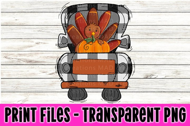 White Black Buffalo Plaid - Thanksgiving Retro Vintage Truck