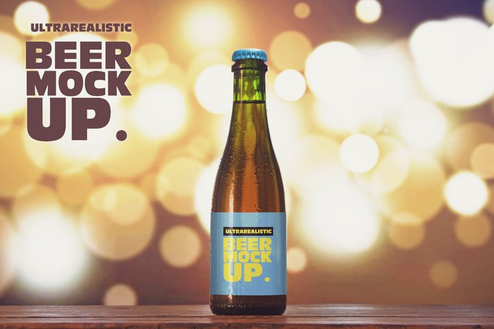 375ml Blurred Lights Beer Mockup