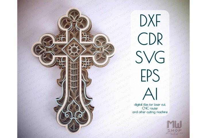 Cr20 - Layered Cross, Laser cut Cross, Cricut Cross SVG