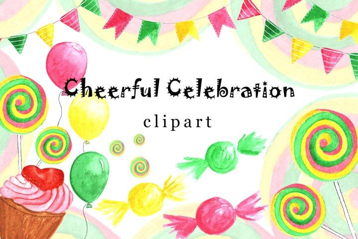 Celebration Clipart, Watercolor Clipart, Set Invitation