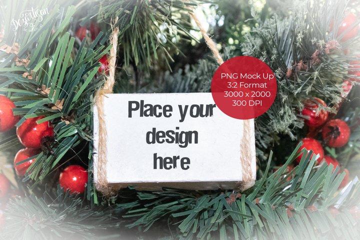 Christmas White Wood Block Ornament Mock Up