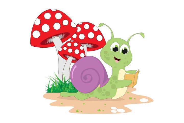 cute snail cartoon reading a book