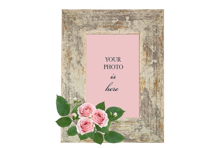 Retro styled photo frame decorated with pink roses