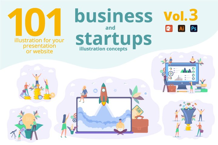 101 business and start up concepts creative illustrations