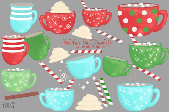 Hot Cocoa Clipart, Christmas Clipart, Christmas Mugs